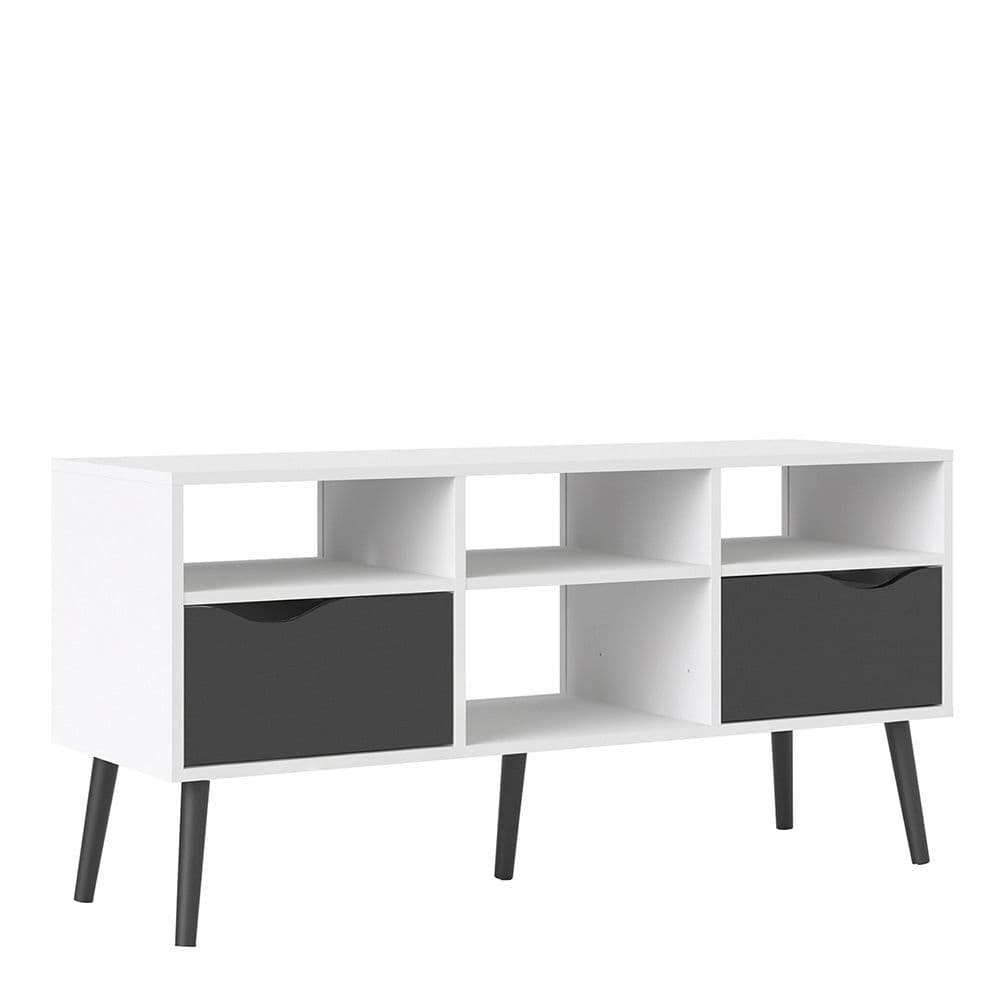 Freja TV Unit - Wide - 2 Drawers 4 Shelves in White and Black Matte